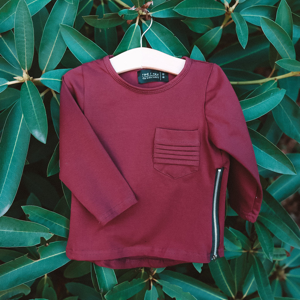 Maroon Long Sleeve Zipper Tee