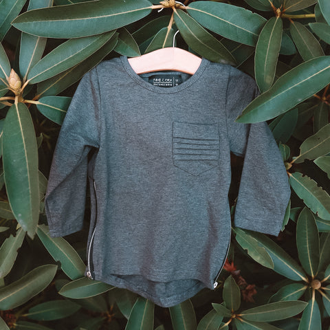 Dark Grey Long Sleeve Zipper Tee