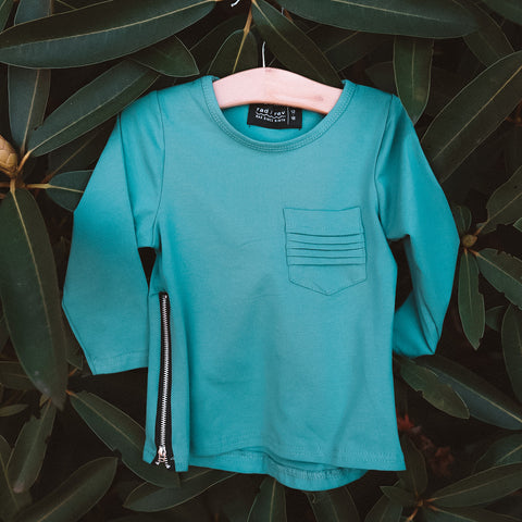 Teal Long Sleeve Zipper Tee