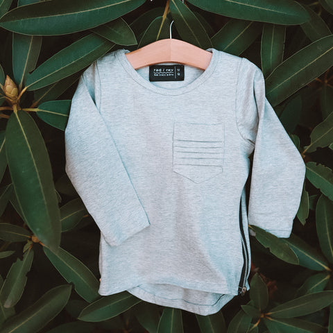 Light Grey Long Sleeve Zipper Tee