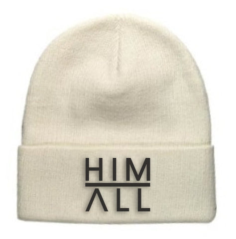 White Knit Beanie , BEANIE - HIM ABOVE ALL, HIM ABOVE ALL