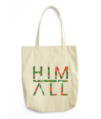 Red Flower Pattern Tote , TOTES - HIM ABOVE ALL, HIM ABOVE ALL