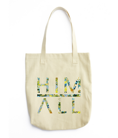 christian tote bag - him above all - blue flowers