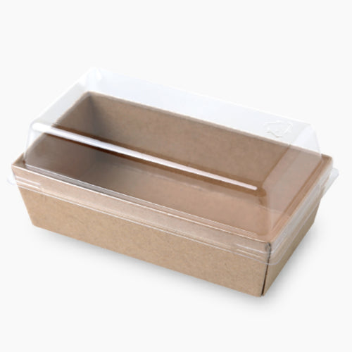 Lunch Tray w/ Lid Mini Rectangle Kraft