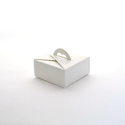 Cake Box w/ Handle Short White