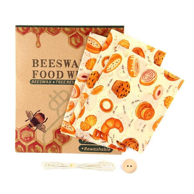 Reusable Organic Beeswax Food Wraps 5pcs