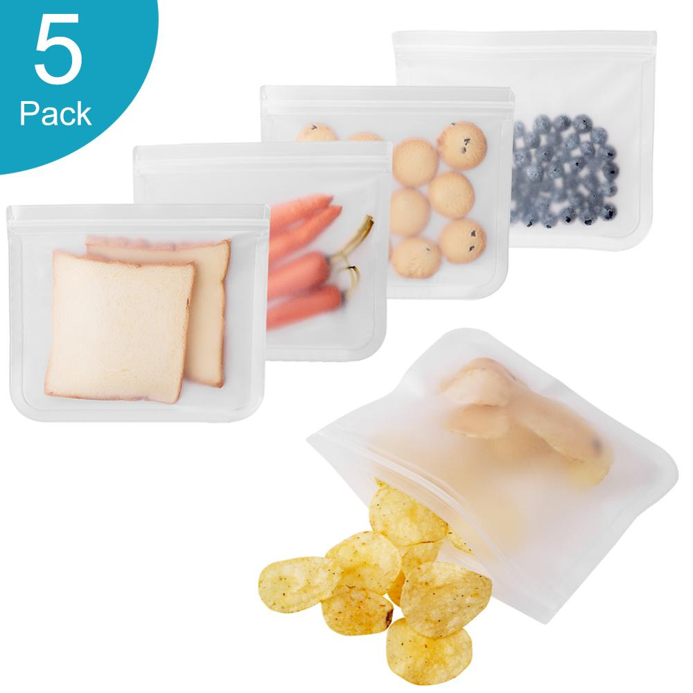 Silicone Reusable Food Storage Bags 5-pack