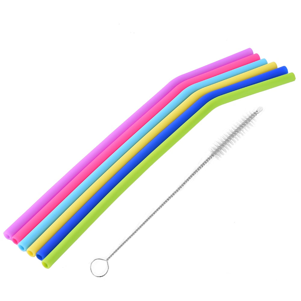 Plain Food-Grade Silicone Straws w/ Cleaning Brush