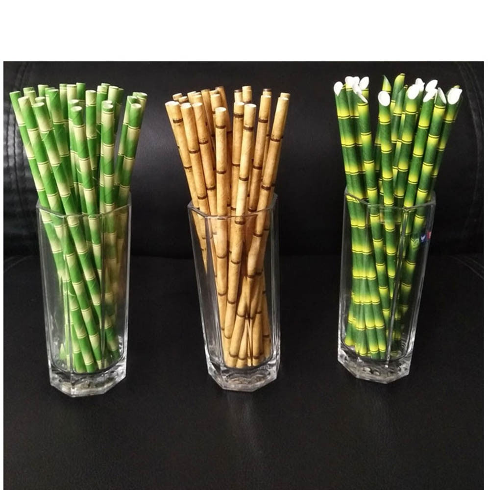 25pc Bamboo Print Paper Straws - Yellow