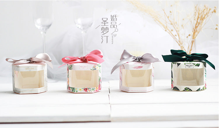 Hexagon Cake Candy Gift Box with Clear Window 50ct
