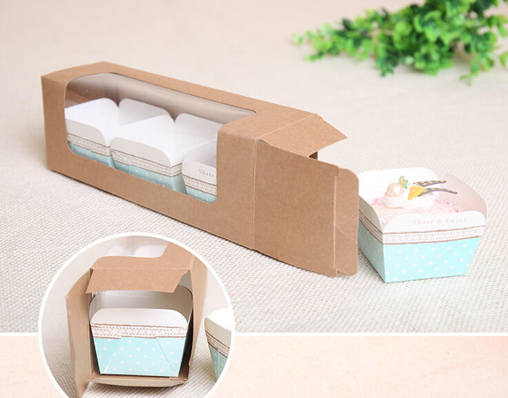 Transparent Front Top Window Muffin Cake Box 30ct Tag Packaging