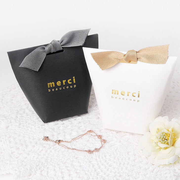 Merci Gold Foil Stamp Candy Party Favor Box 10 ct