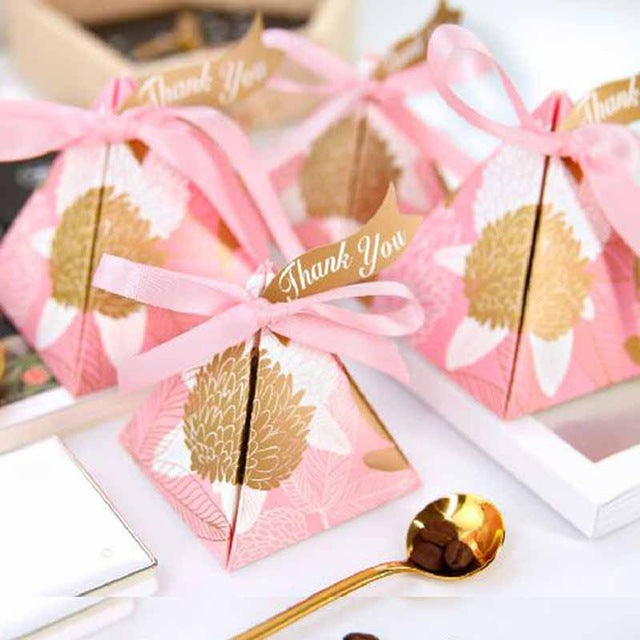Pyramid Candy Party Favor Box -  Gold