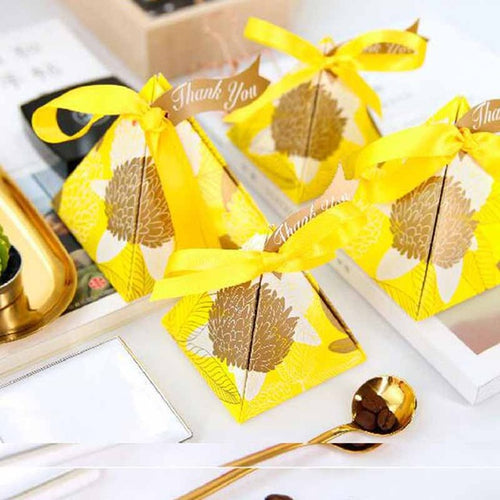 Pyramid Candy Party Favor Box -  Yellow