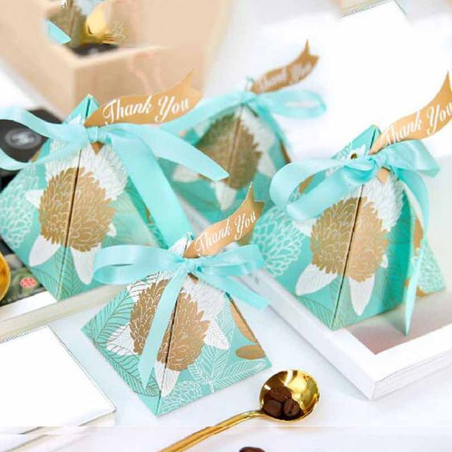 Pyramid Candy Party Favor Box -  Teal