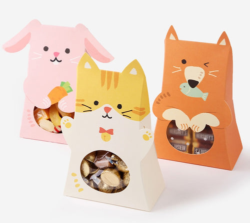 12pc Paper Box - Rabbit, Cat, Bear
