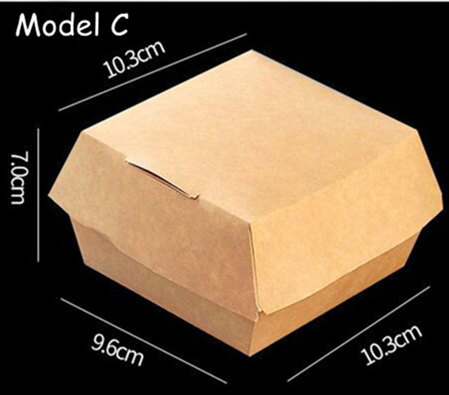 Kraft Paper Disposable Take-out Box Waterproof Anti-Oil French Fry Box 50ct