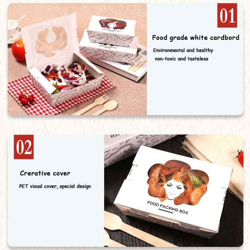 Leakproof Cardboard Lunch Salad Box with PVC Window 10ct