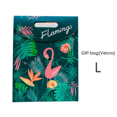 Flamingo Gift Bag Velcro Close 1pc - Size L