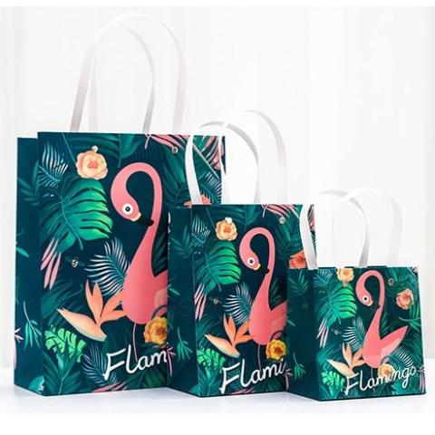 Flamingo Gift Bag w/ Handle 1pc - Size M