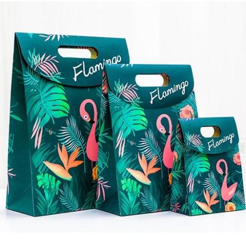 Flamingo Gift Bag Velcro Close 1pc - Size M