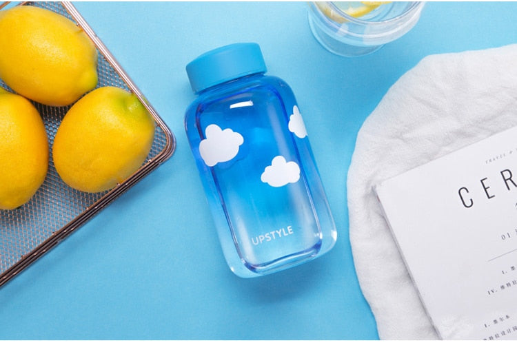 Gradient Sky Handmade Glass Water Bottle (w/ Storage Bag) - 600ml