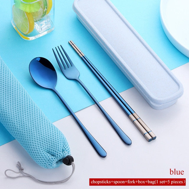 Stainless Steel Cutlery Tableware Travel Set Portable Box