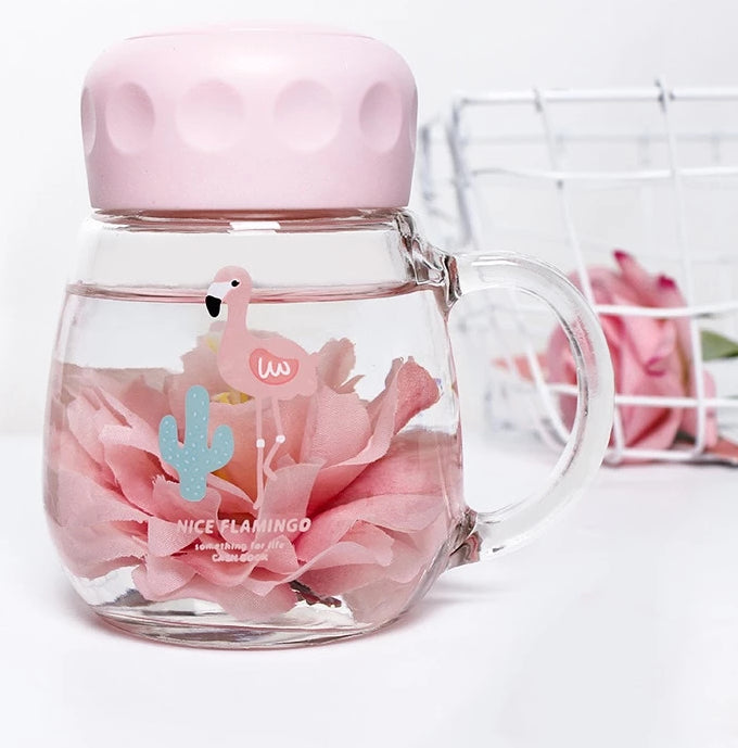 Flamingo Travel Glass Water Bottle