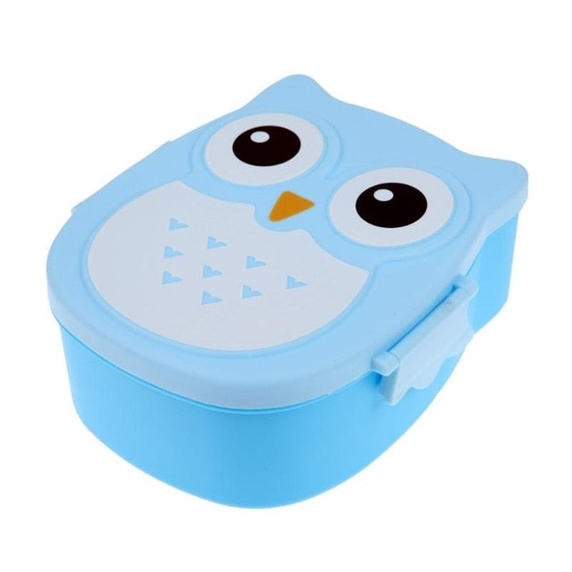 2-Compartment Owl Bento Lunch Box w/ Spoon (Microwavable)