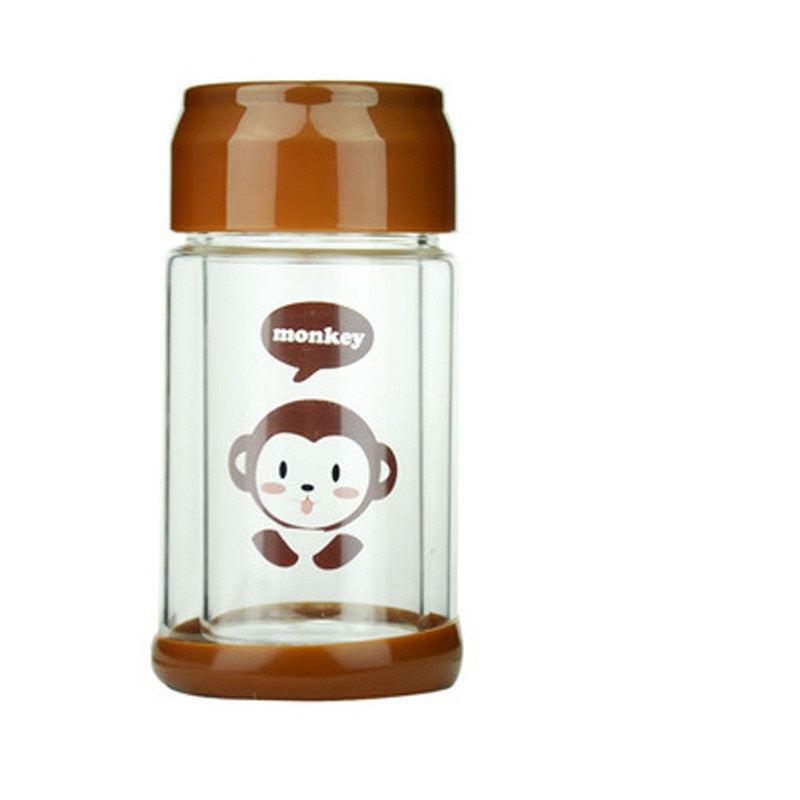 Cartoon Glass Double Wall Water Bottle with Silicone Base - 300ml