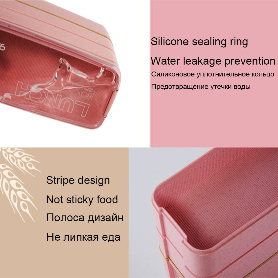 3-Layer Bento Lunch Box Eco-Friendly Wheat Straw Material