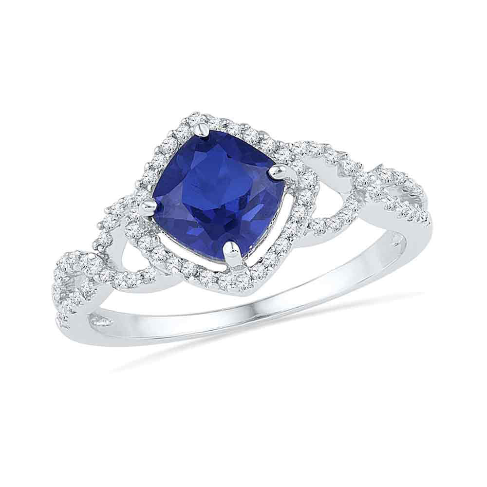 10kt White Gold Womens Cushion Lab-Created Blue Sapphire Solitaire Ring 1.00 Cttw
