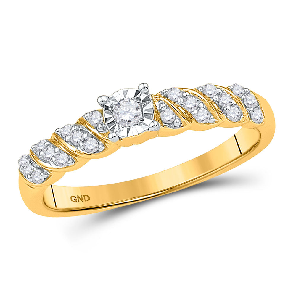 10kt Yellow Gold Womens Round Diamond Solitaire Promise Ring 1/5 Cttw