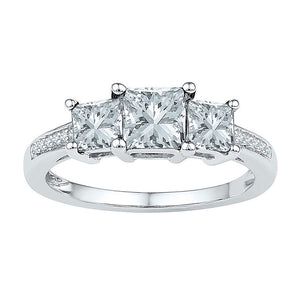10kt White Gold Womens Princess Lab-Created White Sapphire 3-stone Ring 2 Cttw