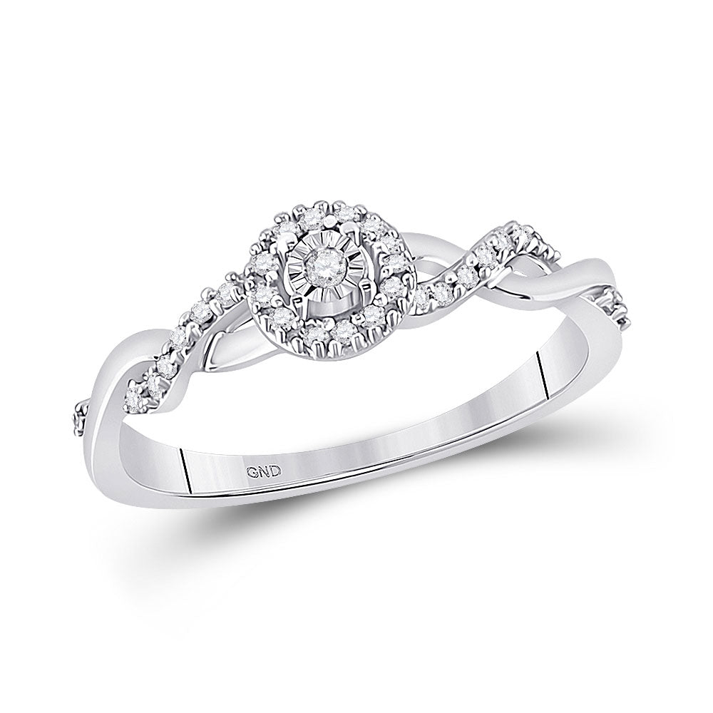10kt White Gold Womens Round Diamond Solitaire Twist Woven Promise Ring 1/6 Cttw