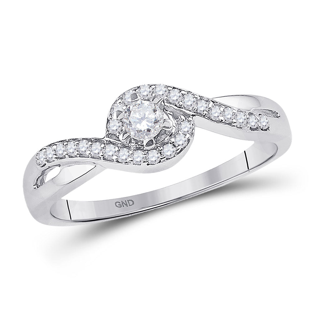 10kt White Gold Womens Round Diamond Solitaire Swirl Promise Ring 1/5 Cttw