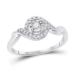10kt White Gold Womens Round Diamond Solitaire Twist Promise Ring 1/6 Cttw