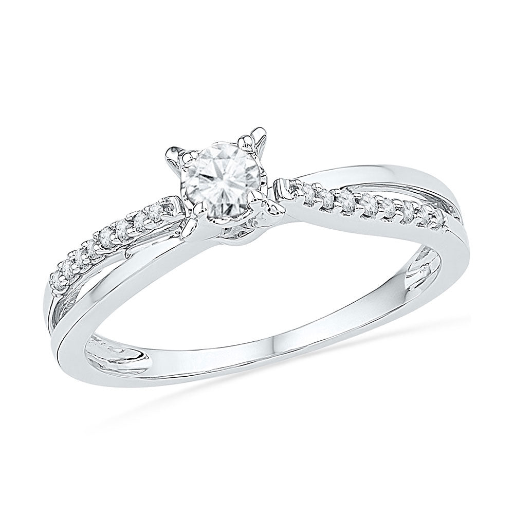 10kt White Gold Womens Round Diamond Solitaire Crossover Promise Ring 1/4 Cttw