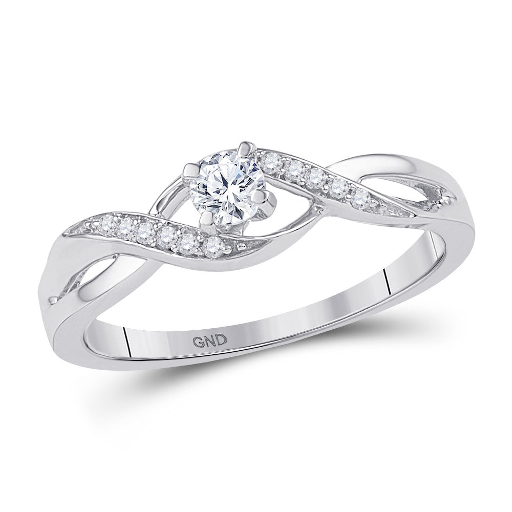 10kt White Gold Womens Round Diamond Solitaire Crossover Twist Promise Ring 1/6 Cttw
