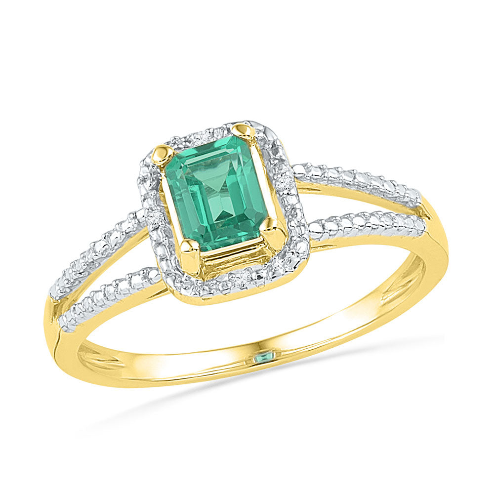 10kt Yellow Gold Womens Lab-Created Emerald Solitaire Diamond Split-shank Ring 1-1/2 Cttw