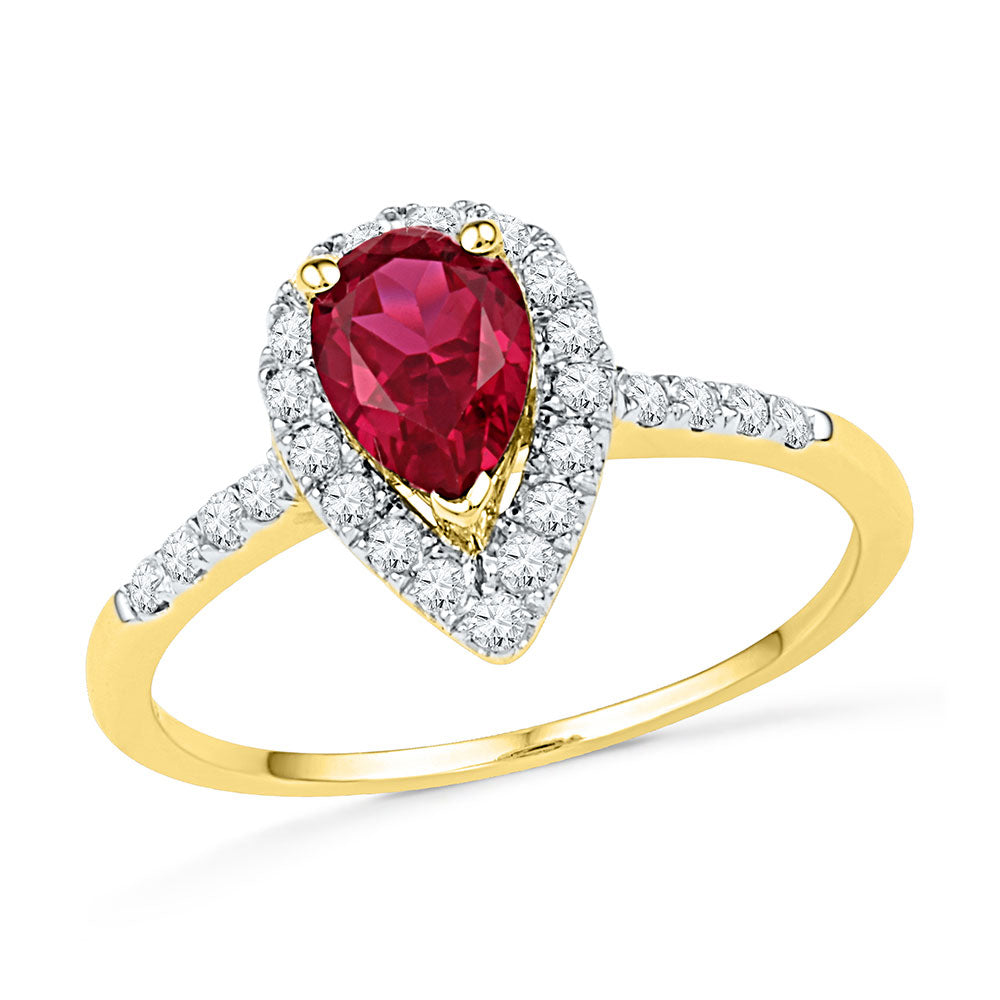 10kt Yellow Gold Womens Pear Lab-Created Ruby Solitaire Diamond Frame Ring 1-1/5 Cttw