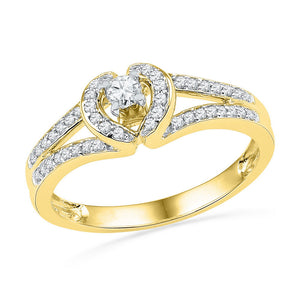 10kt Yellow Gold Womens Round Diamond Heart Promise Bridal Ring 1/4 Cttw