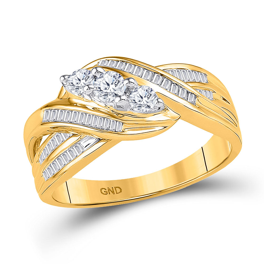 10kt Yellow Gold Womens Round Baguette Diamond 3-Stone Crossover Band Ring 1/2 Cttw