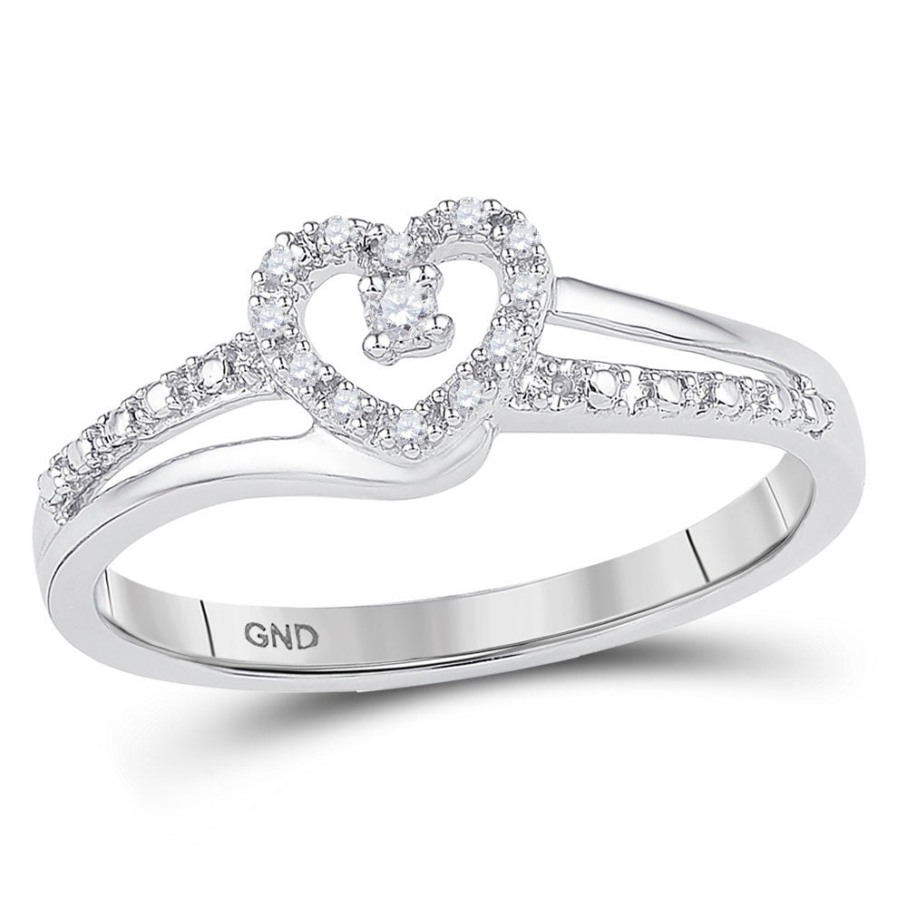 10kt White Gold Womens Round Diamond Heart Promise Bridal Ring 1/20 Cttw