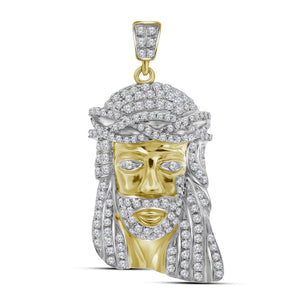 10kt Yellow Gold Mens Round Diamond Jesus Face Charm Pendant 3/4 Cttw