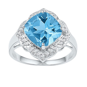 10kt White Gold Womens Princess Lab-Created Blue Topaz Solitaire Ring 5 Cttw