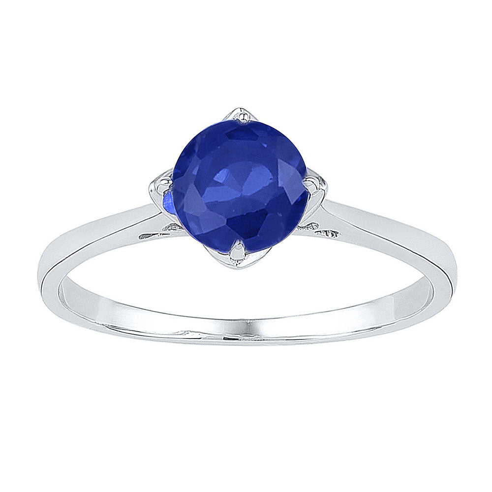 Sterling Silver Womens Round Lab-Created Blue Sapphire Solitaire Ring 1 Cttw
