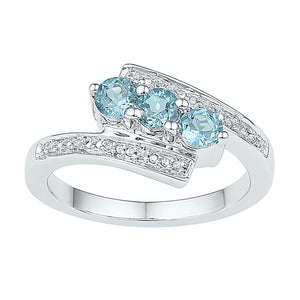 Sterling Silver Womens Round Lab-Created Blue Topaz 3-stone Ring 1.00 Cttw