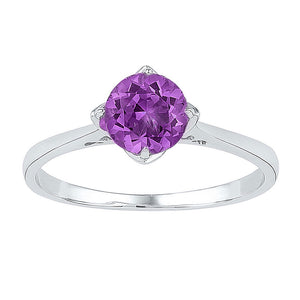 Sterling Silver Womens Round Lab-Created Amethyst Solitaire Ring 3/4 Cttw