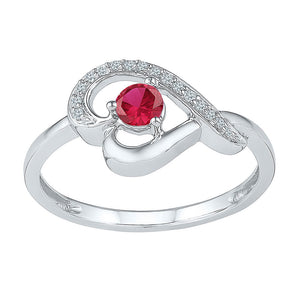 Sterling Silver Womens Round Lab-Created Ruby Diamond Heart Ring 1/2 Cttw